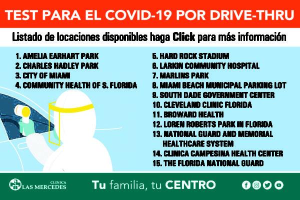 Localizaciones para Test de Covid-19 en el sur de la Florida vía Drive-Thru