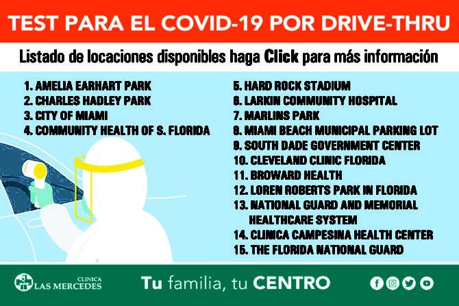 Nuevas Localizaciones para hacer el Test de Covid-19 en el sur de la Florida vía Drive-Thru